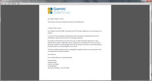 letter from Gemini hospital